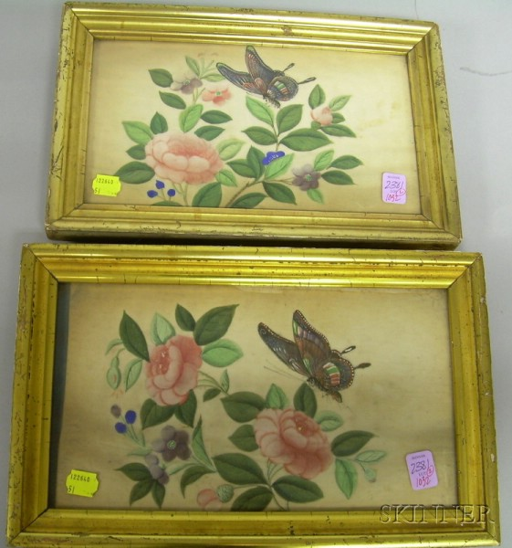 Pair of Giltwood Framed Chinese Paintings on Pith Paper Depicting Butterflies and   Flowers