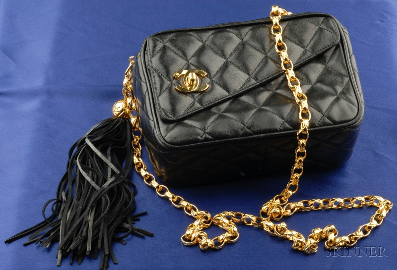 Black Leather Shoulder Bag, Chanel