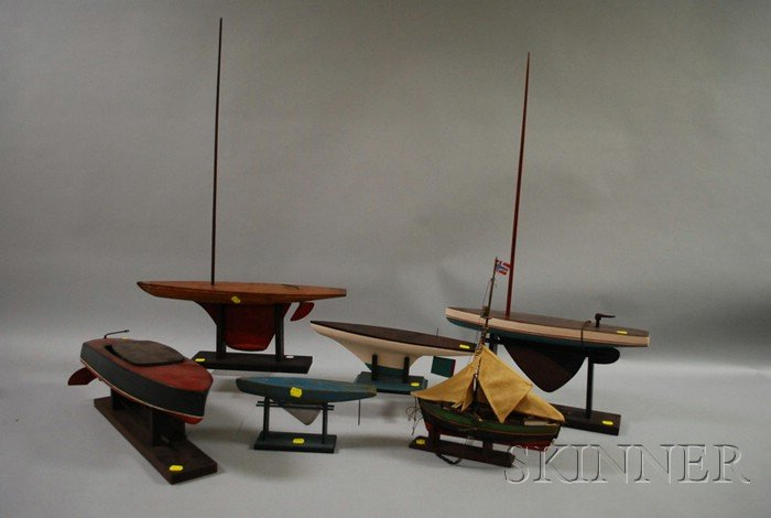 Five Painted Boat Pond Models and a Hull Model.