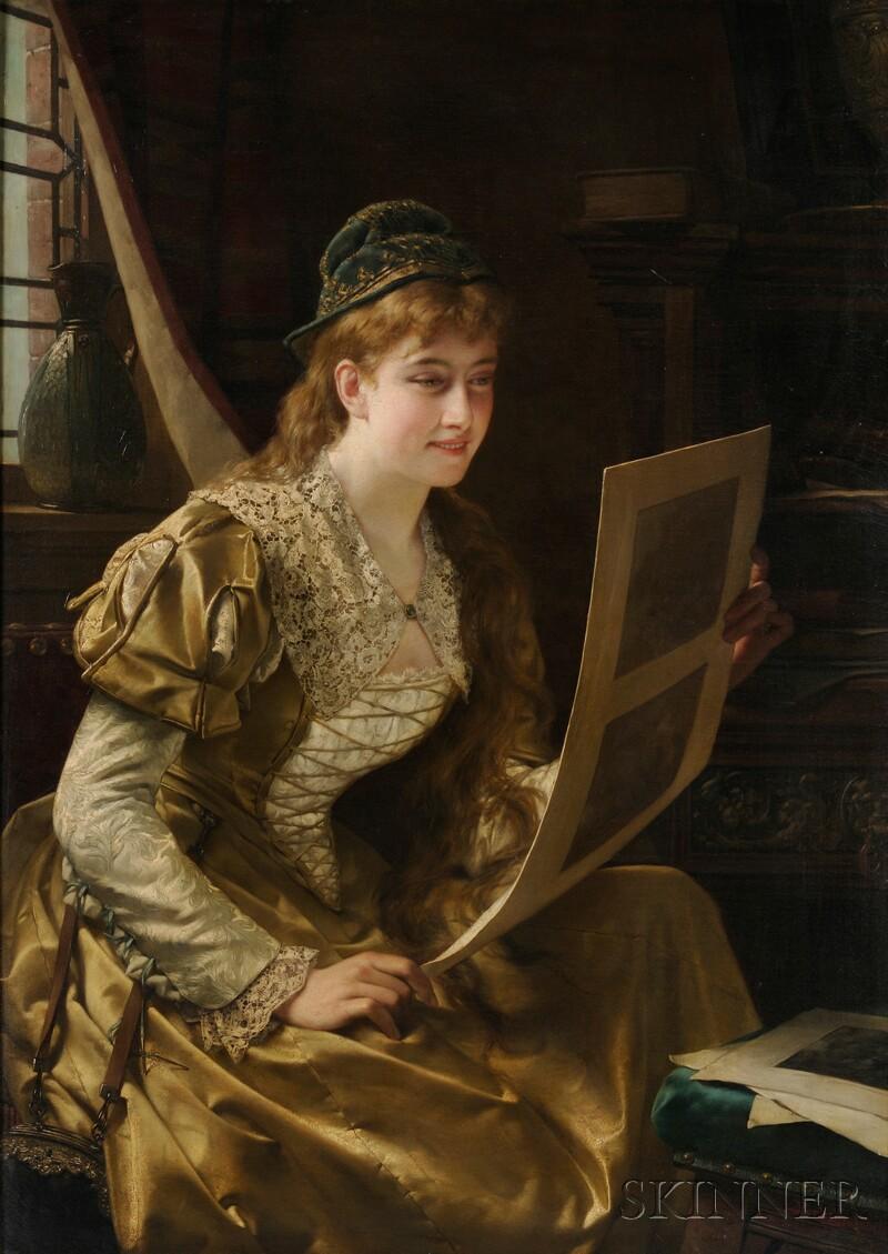 Jan Frederik Pieter Portielje (Belgian, 1829-1908)      Dame met Gouden Kleding