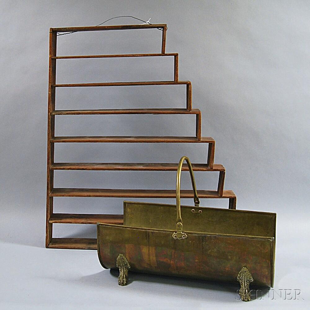 Primitive Hanging Shelf and a Brass Log Carrier
