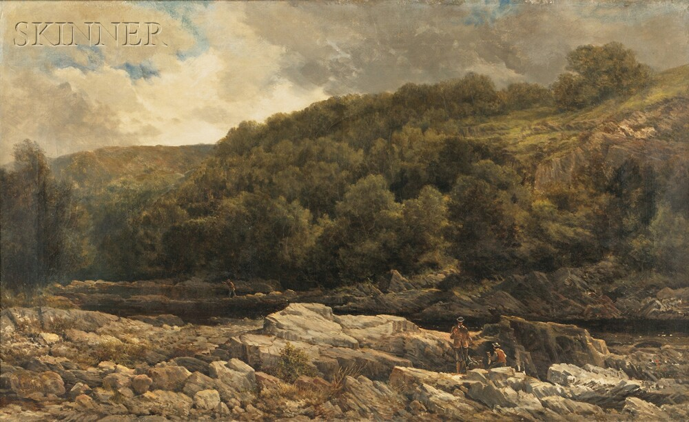 George Law Beetholme (British, active 1848-1886)      Fly Fishing in a Rocky Stream