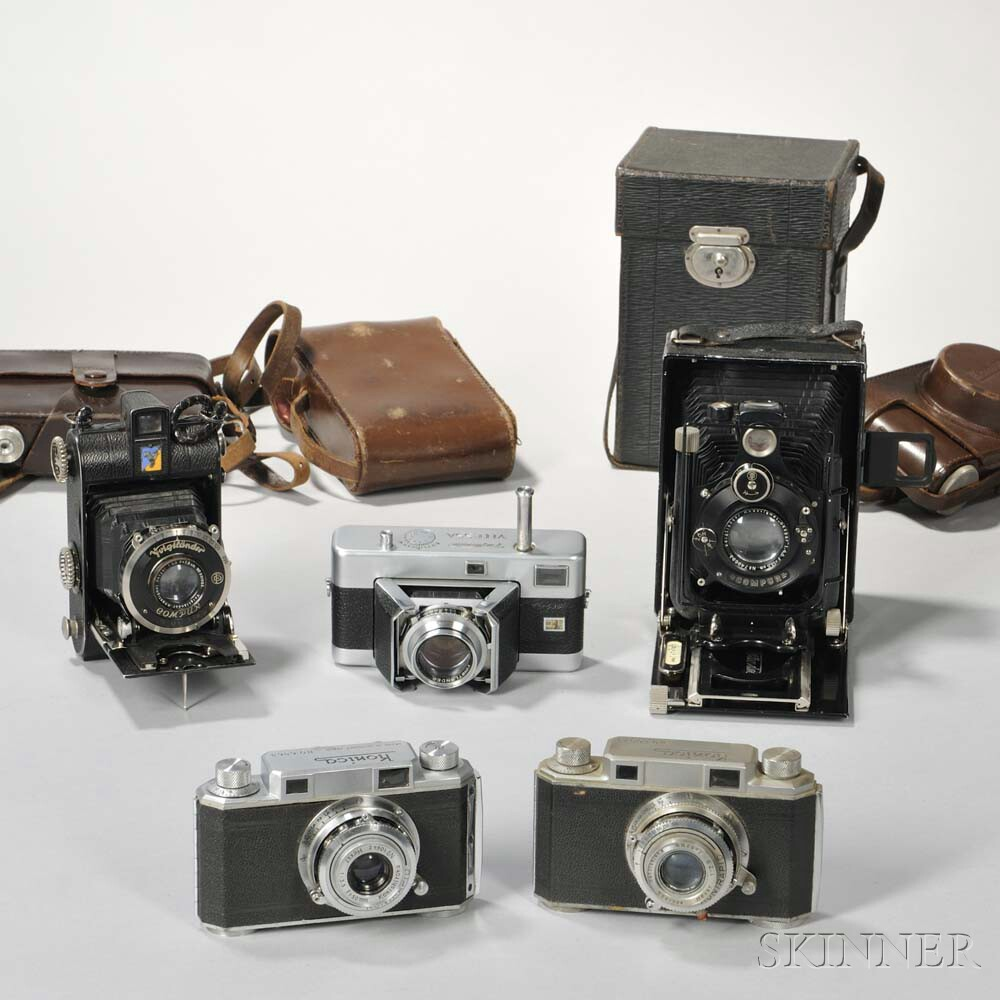 Two Occupied Japan Konica Rangefinder and Three Voigtlander Cameras