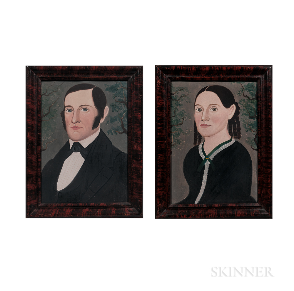 George Hartwell (Massachusetts, 1815-1901)      Pair of Portraits of a Lady and Gentleman