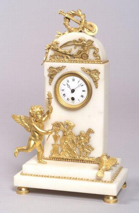 Louis XVI-style Gilt Bronze and White Marble Mantel Timepiece