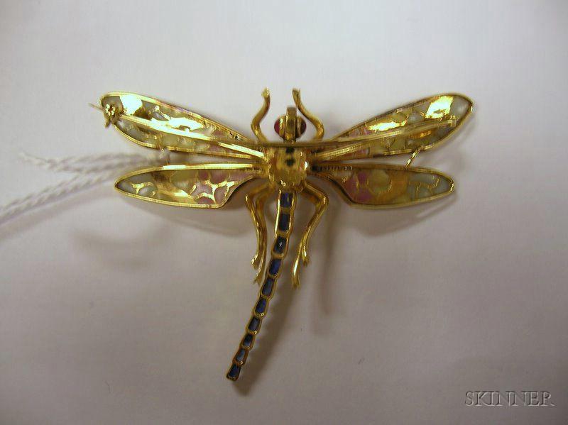 Art Nouveau-style Plique-a-jour and Gem-set Dragonfly Pin