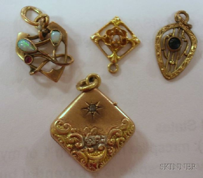 Assortment of Victorian and Later Pendants, Fobs, and Pins.