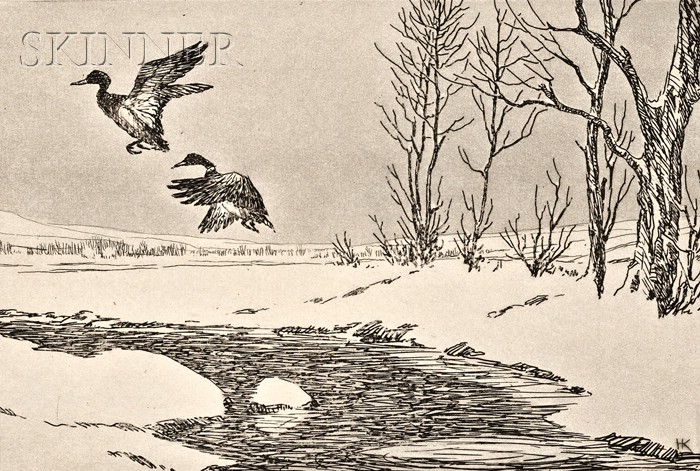 Hans Kleiber (American/German, 1887-1967)      Lot of Two Images of Ducks: Over Winter's Fields