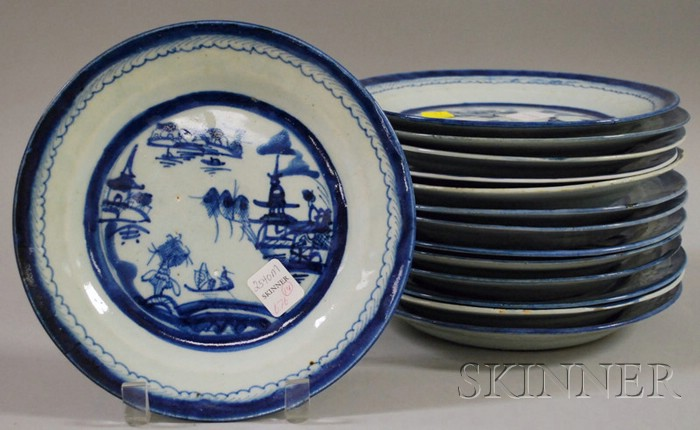 Fourteen Chinese Export Porcelain Canton Blue and White Plates