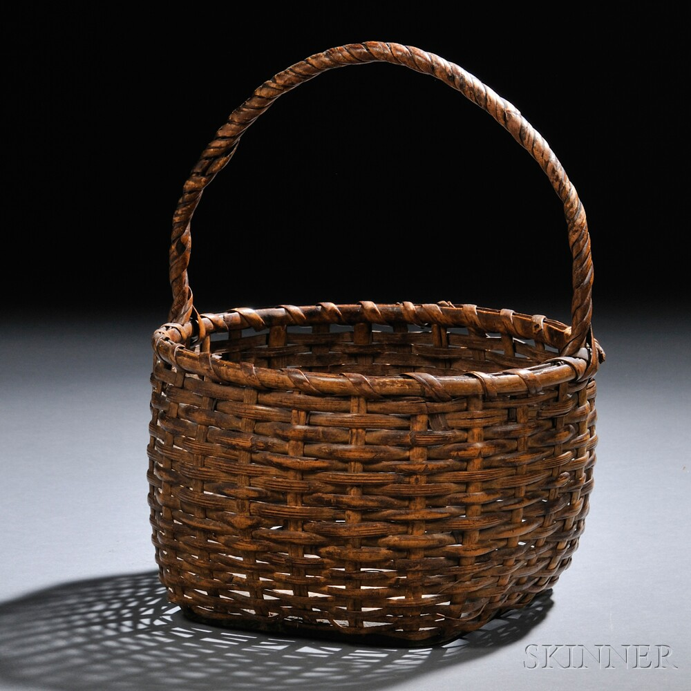 How To Weave A Cane Basket : Woven cane basket sale number m lot
