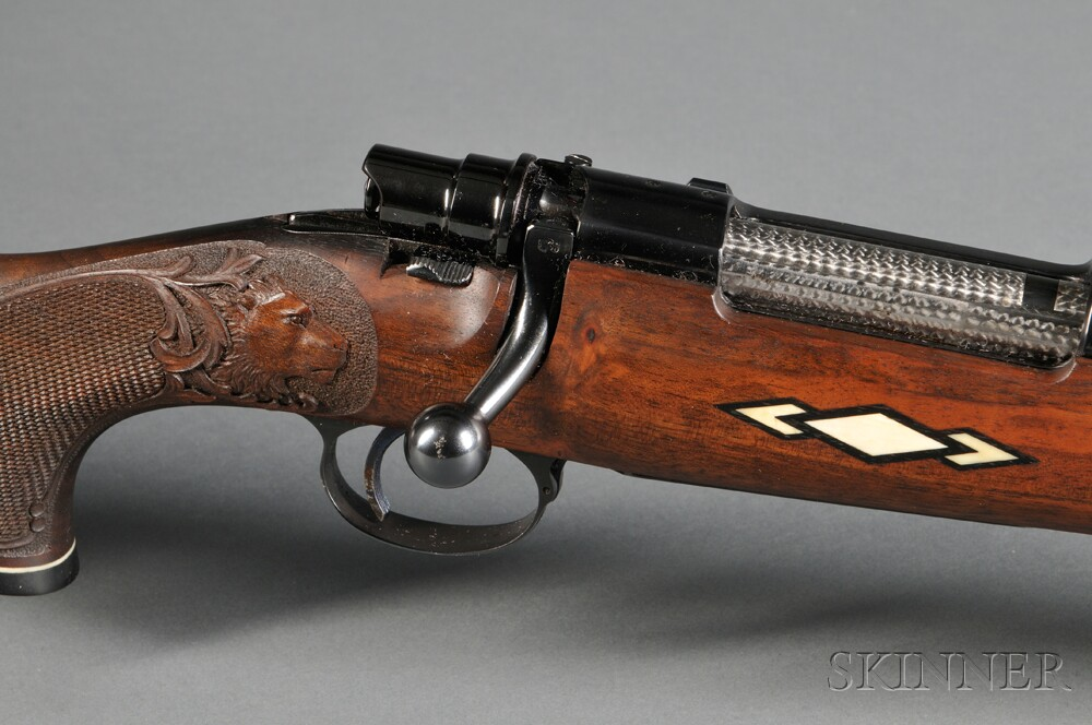 Custom Engraved and Carved Fabrique National Bolt Action Rifle