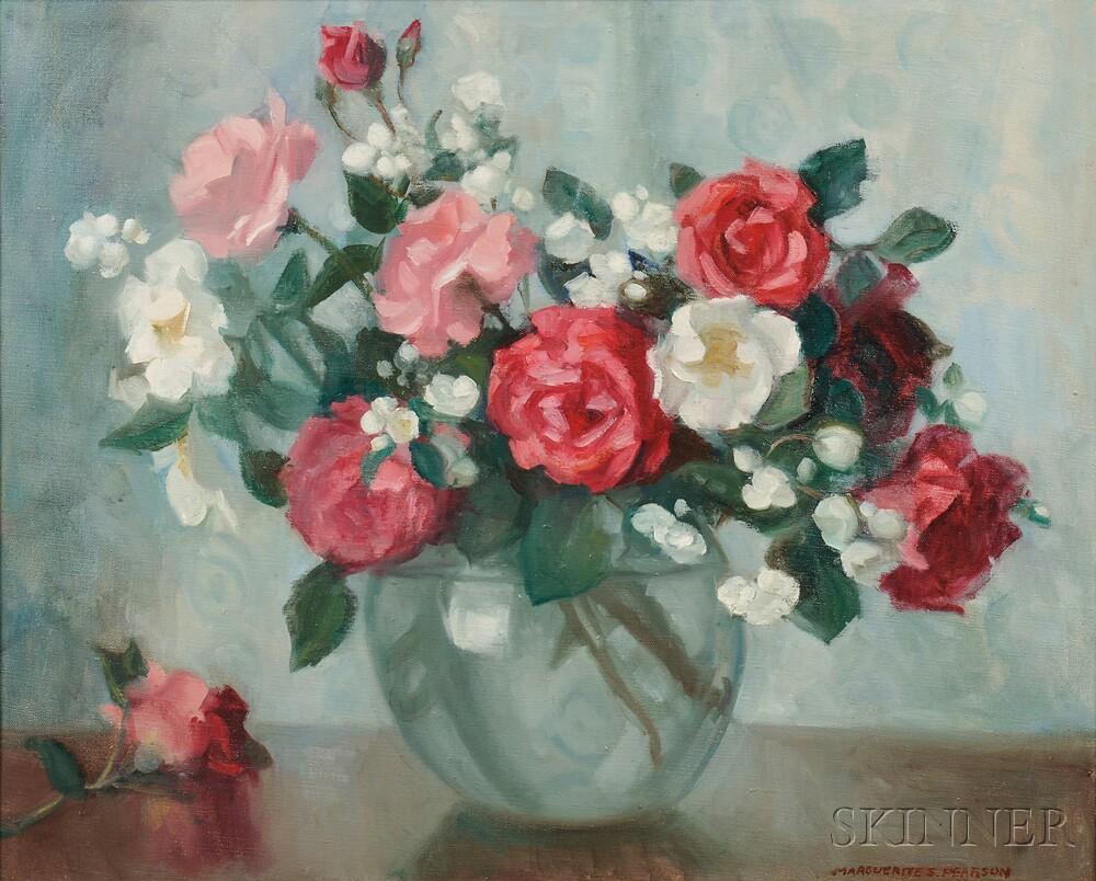 Marguerite Stuber Pearson (American, 1898-1978)      Roses in a Glass Globe