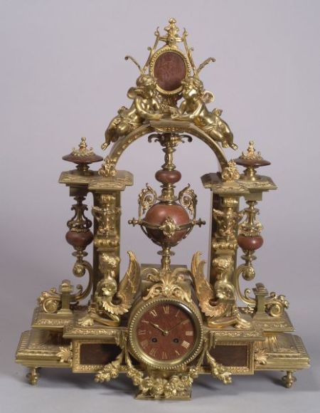 French Louis XVI-style Gilt Bronze and Rouge Marble Mantel Clock