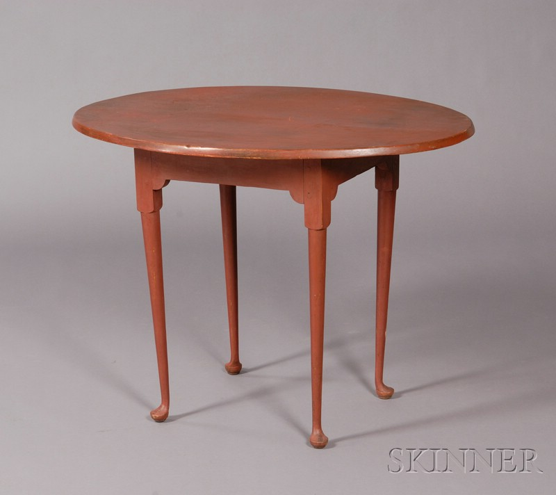 Queen Anne Red-painted Oval-top Tea Table