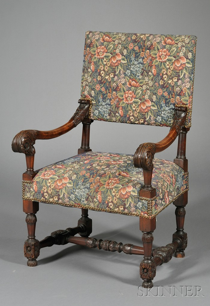 Baroque-style Carved Walnut Open Armchair