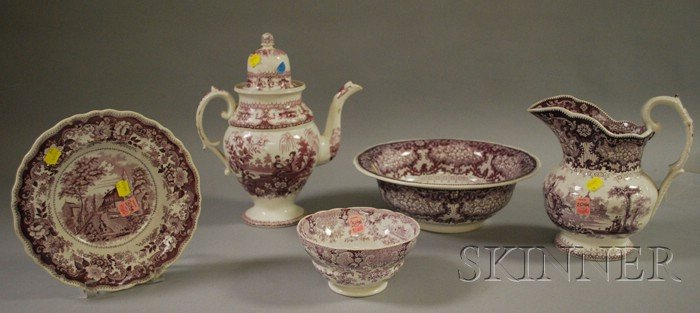 Five Pieces of Assorted English Transfer-decorated Staffordshire Tableware