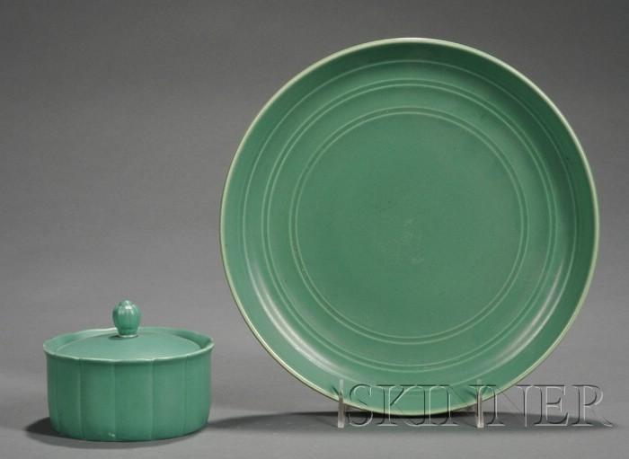Two Wedgwood Keith Murray Design Matte Green Slip Glazed Items
