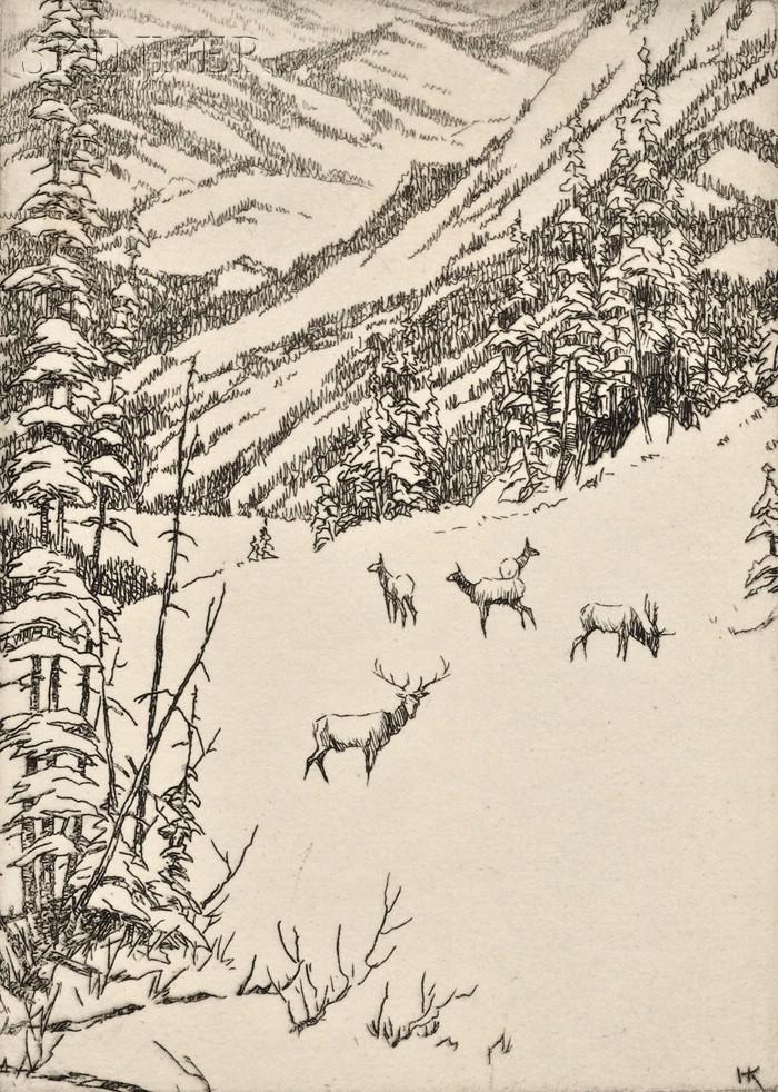 Hans Kleiber (American/German, 1887-1967) Lot of Three Views in the Rockies: Elk in Winter, Herder and Sheep Before a Broad Panorama, a