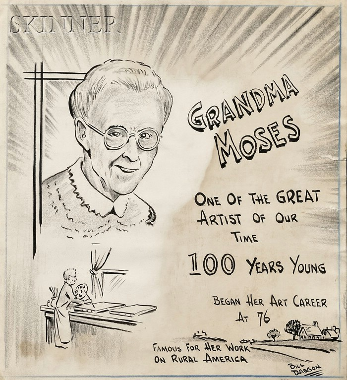 William J. Dawson (American, b. 1918)      Lot of Four Cartoon Sketches depicting Grandma Moses: 92 Years Young