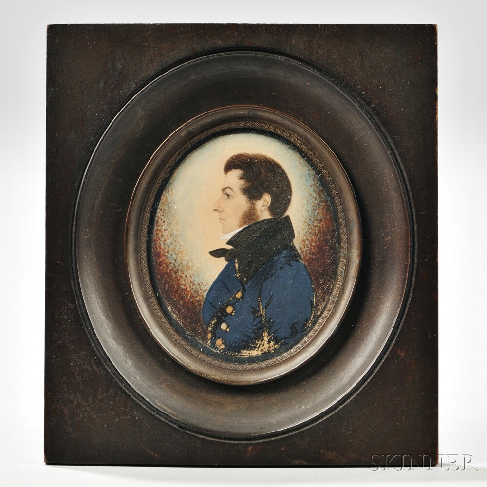 Attributed to James H. Gillespie (British/American, 1793-after 1849)    Profile Po   Miniature of a Young Man