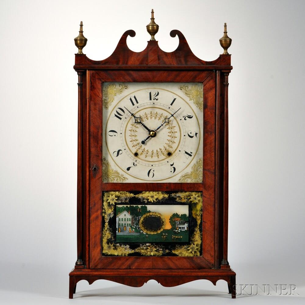 Bishop & Bradley Mahogany Pillar and Scroll Clock