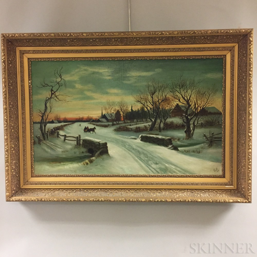 Attributed to Ellen Allen (American, 20th Century)    Winter Village Scene with Horse-drawn Sleigh