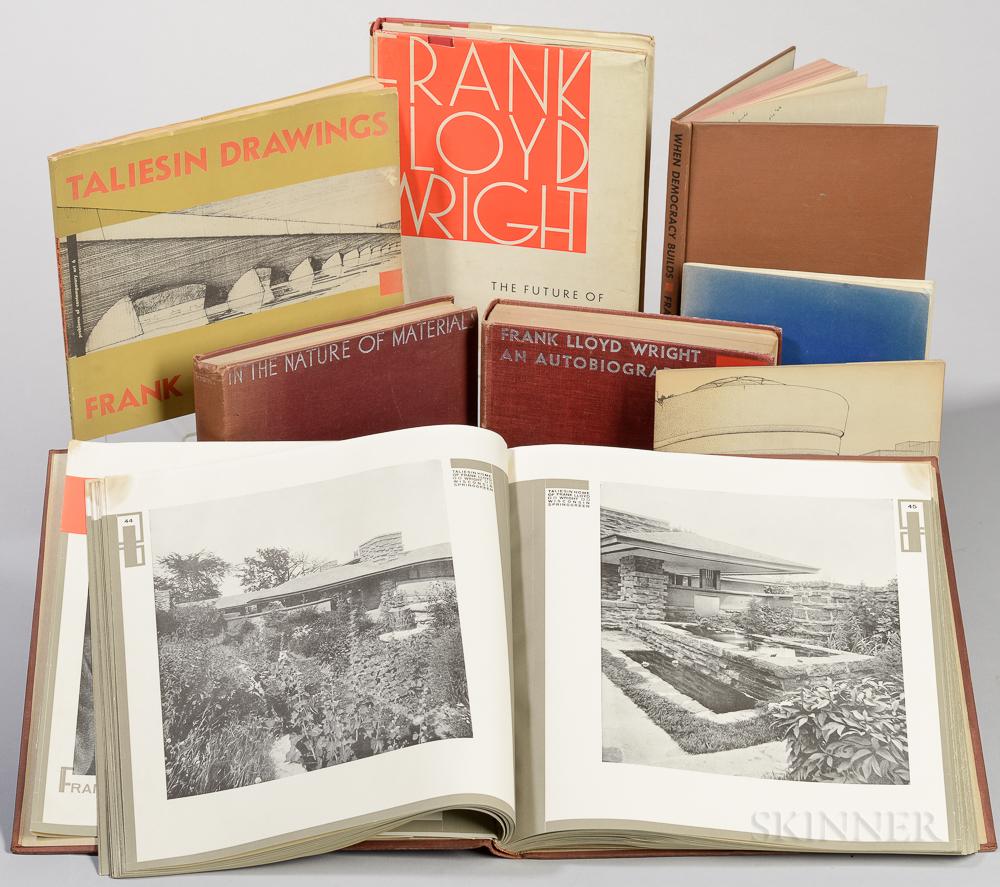 Wright, Frank Lloyd (1867-1959) Eight Titles.