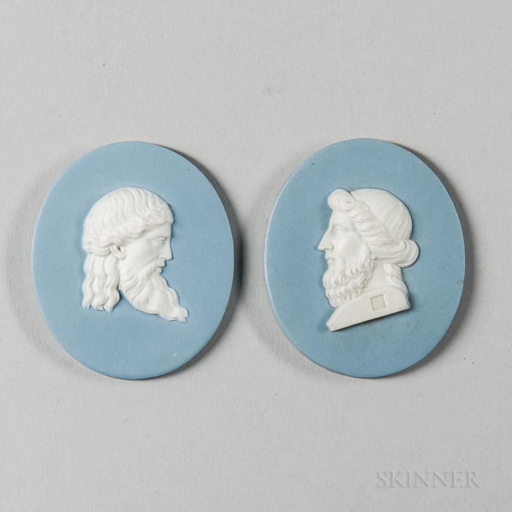 Two Wedgwood & Bentley Solid Blue Jasper Portrait Medallions