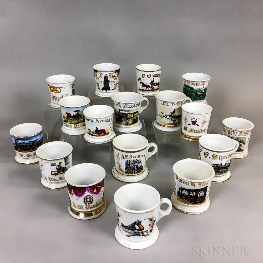 Seventeen Porcelain Shaving Mugs