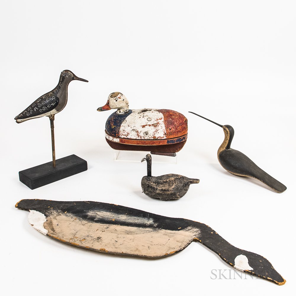 Six Carved and Painted Wood and Tin Decoys and Shorebirds