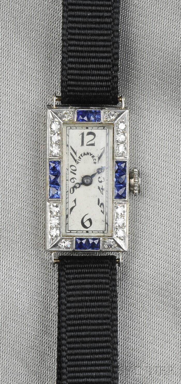 Art Deco Platinum, 18kt Gold, Sapphire, and Diamond Wristwatch, Tiffany & Co.