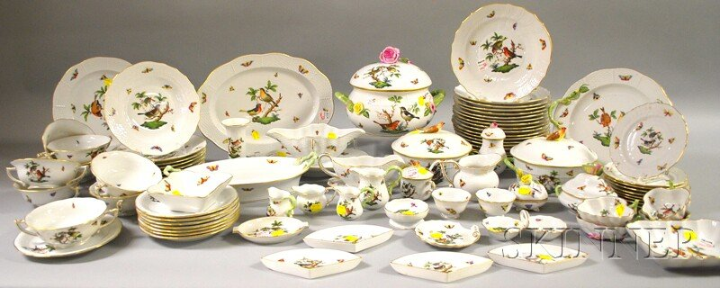 Eighty-seven Pieces of Herend Hand-painted Rothschild Bird Pattern Porcelain   Tableware