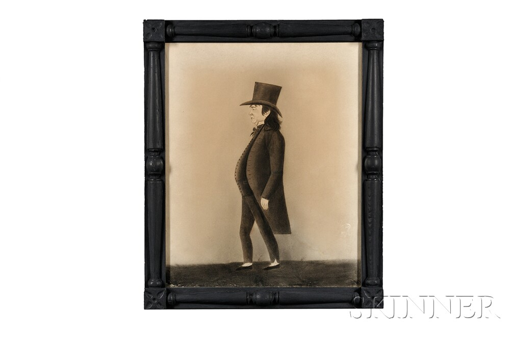 School of Jacob Maentel (act. Pennsylvania/Maryland/Indiana, 1763-1863)      Portrait of a Gentleman in a Top Hat.