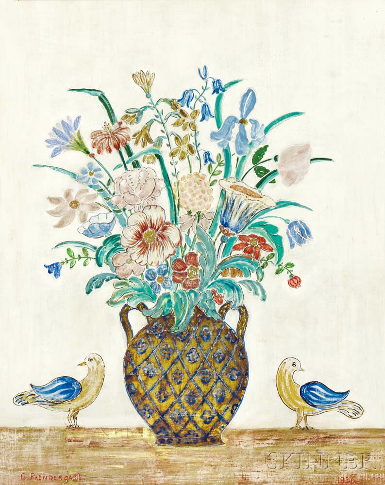 Charles E. Prendergast (American, 1863-1948)      Untitled (Vase with Flowers and Birds)