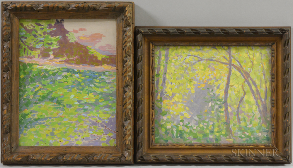 American School, 20th Century      Two Framed Landscapes: Spring Sunlight through Trees