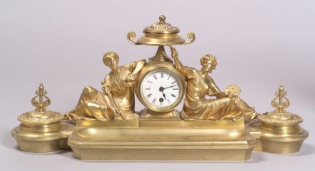 French Louis XVI-style Gilt Bronze Figural Inkstand Timepiece