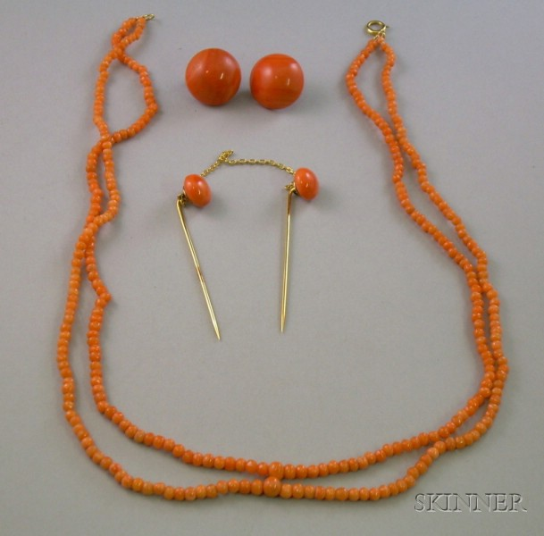Pair of 14kt Gold Coral Button Earclips, a 14kt Gold and Coral Double Stickpin, and   a Double-Strand Coral Bead Necklace