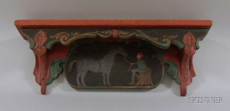 Folk Carved and Polychrome Painted Figural Decorated Wooden Wall Shelf