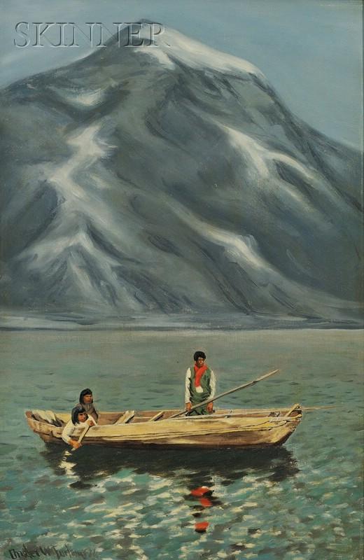 Charles Wellington Furlong (American, 1874-1967)      Yahgans in a Beech-log Canoe