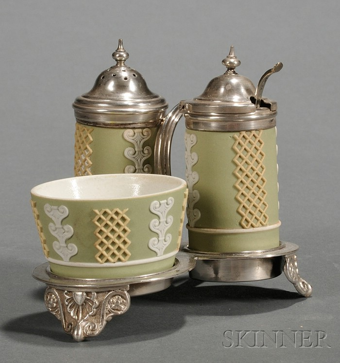 Three-Piece Wedgwood Three-Color Jasper Condiment Set