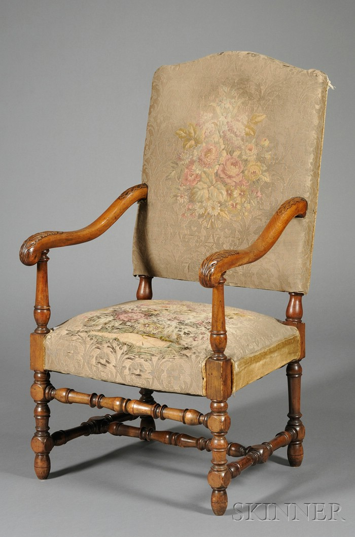 Flemish Baroque-style Carved Walnut Open Armchair