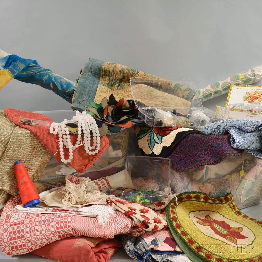 Extensive Group of Assorted Fabrics and Fragments.     Estimate $300-500