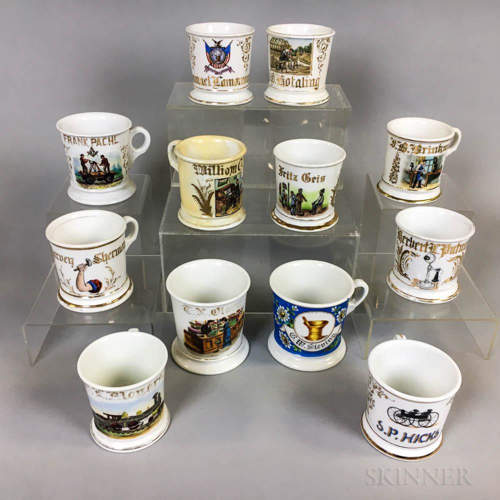 Twelve Porcelain Shaving Mugs