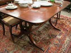 Paine Furniture Classical-style Brass Mounted Mahogany Double Lyre-base Dining Table