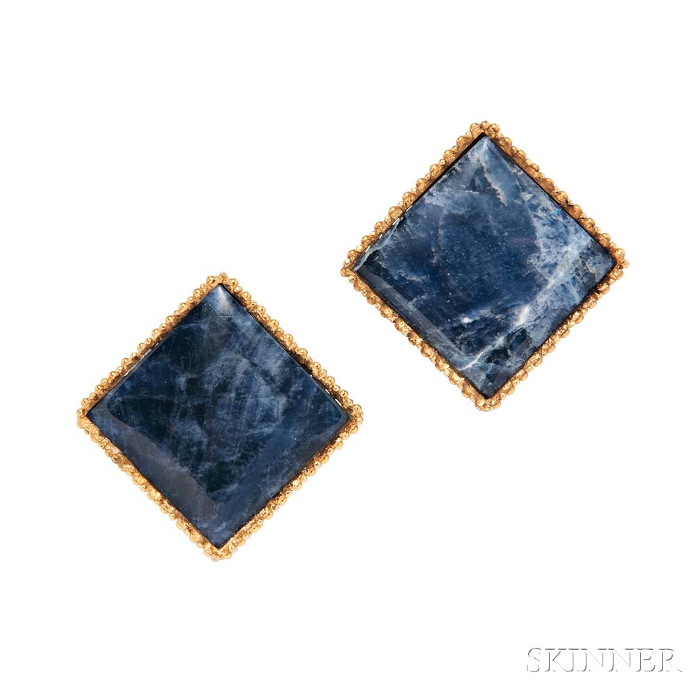 18kt Gold and Sodalite Earclips, Lalaounis