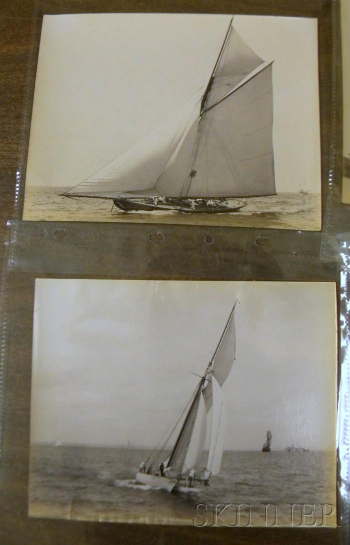 John S. Johnston (British/American, born c. 1839-1899)      Lot of Five Yachting Images: Carmita ,  Tomahawk