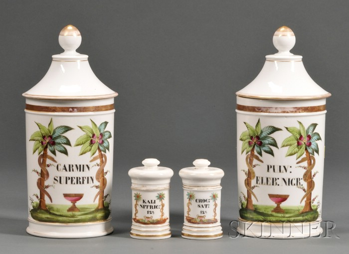 Four Hand-painted and Gilt Porcelain Covered Apothecary Jars