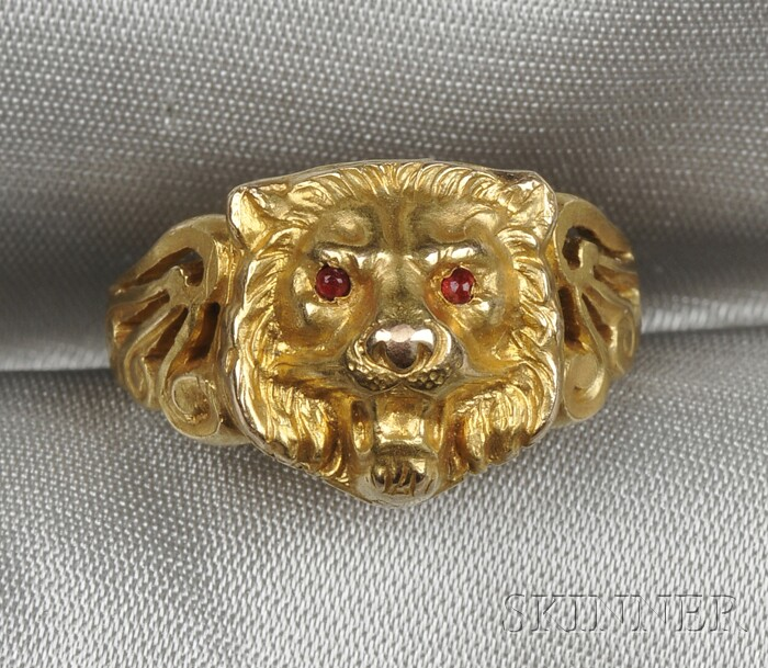 Art Nouveau 14kt Gold and Ruby Lion's Head Poison Ring