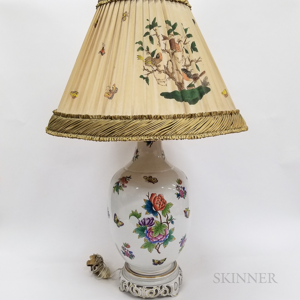 """Herend """"Victoria"""" Porcelain Table Lamp and Shade"""