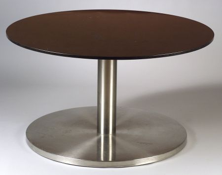 Seagram Collection  Marble and Stainless Steel Round Table